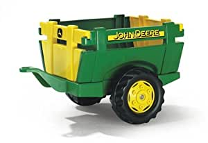 Rolly Toys 122103 Anhänger Farm John Deere, Einachsanhänger mit Heckklappe (geeignet von 2,5 – 10 Jahren, Farbe Grün/Gelb)