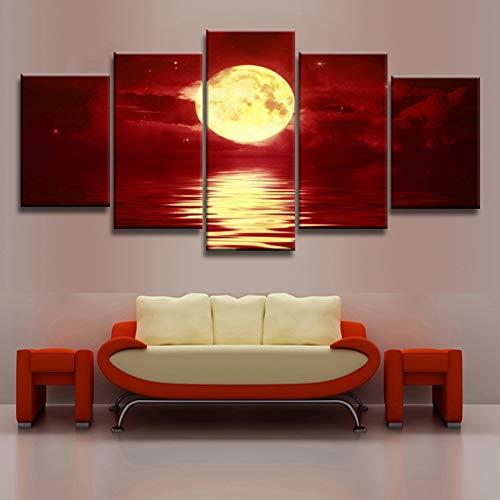 KINYNE Arte De La Pared del Horizonte Rojo Cuadro Sobre Lienzo Fotografías De Paisajes Naturales Decoración Moderna Pintura - Oro Luna Llena Sobre El Mar (5 Piezas),A,20X30x2+20X40x2+20X50x1