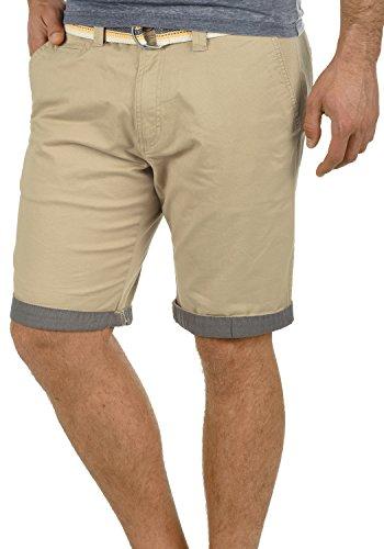 SOLID Lagos Herren Chino-Shorts kurze Hose Business-Shorts mit Gürtel aus hochwertiger Baumwollmischung, Größe:XXL, Farbe:Dune (5409) (Reißverschluss Gürtel)
