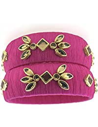SURATNA Stylish & Beautious Silk Thread Bangles Pink Color 2 Pc Set For Women & Girls For Wedding & Festive Occasions...