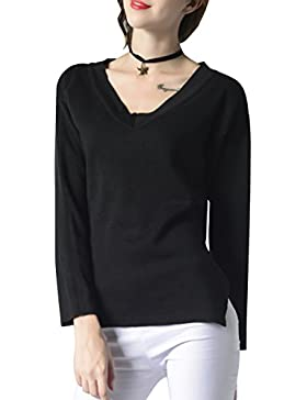 ELLAZHU Moda Mujer V cuello mangas largas Irregular suéter de color puro YY45 Negro L