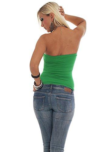 Fashion4Young/10078–top bandeau sans bretelles en tissu stretch pour femme avec strass disponible en 8 couleurs différentes tailles Vert - Vert
