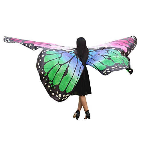 KPILP Egypt Belly Wings Dancing Übergröße Butterfly Wings Dance Accessories No Sticks Pixie Poncho für Show/Daily / Party(Grün