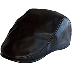 Dazoriginal Boina Cuero Casquillos plano Viseragorras Hombre Gorra Plana sombrero Negro FlatCap