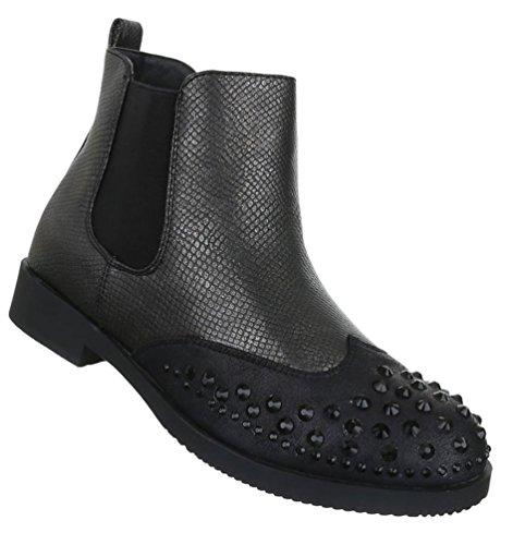 Damen Stiefeletten Schuhe Kurzschaft Strass Boots Schwarz 36 37 38 39 40 41 Schwarz