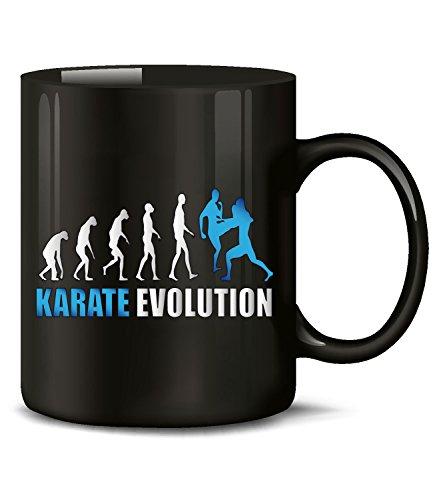 Golebros Karate Evolution Kampfsport 563 Geburtstag Geschenk Fun Tasse Becher Kaffeetasse Kaffeebecher Schwarz-Blau