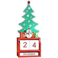 BESTOYARD Würfel Tischkalender Holz Countdown Adventskalender Weihnachtsdeko Vintage Würfelkalender (Schneemann)