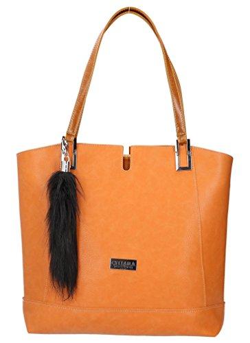 Elegante Damen Shopper Hentkeltasche mit pelzig Anhänger & zugemachte Unterarmtasche für Kleinigkeiten women tote bag Ökoleder (PU Leder) leather in EU produziert Handtasche Schultertasche (Rostbraun)