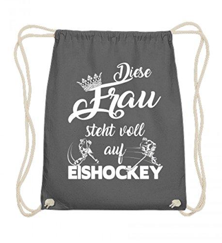 Hochwertige Baumwoll Gymsac - Lustiges Eishockey Shirt - Diese Frau steht voll auf Eishockey - Eishockey Fan - Lustiger Spruch
