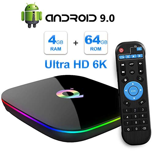 HECHEN Android-TV-Box, TV-Box Android 9.0 mit 4 GB RAM 64 GB ROM H6 Quad-Core-Cortex-A53-Prozessor Smart-TV-Box, unterstützt 6K Auflösung 3D 2,4 GHz WiFi 10 / 100M Ethernet USB 3.0 Media Player