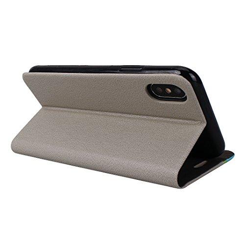 PU Pelle Custodia Per iPhone X, Asnlove Doppio Colore Flip Cover Portafoglio Funzione Caso PU Pelle e TPU Silicone Cassa Antiurto Case Bumper Moda Shell Per iPhone X - Rosso Grigio