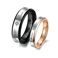 Stainless Steel 6MM/4MM Couple Rings Engraved