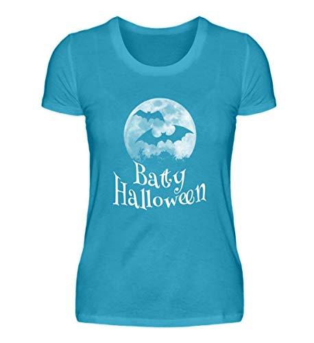 Shirtee Batty Happy Halloween - Gruselige Fledermäuse vor Stylischem Vollmond an Samhain - Damen Premiumshirt