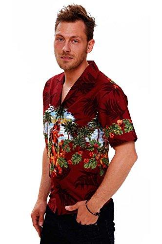 KY's | Original Hawaiihemd | Herren | S - 8XL | Kurzarm | Front-Tasche | Hawaii-Print | Hulamädchen Blumen Palmen | Rot Rot