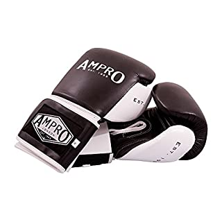 Ampro Madison MKII Velcro Sparring Gloves - Black/White (16oz)