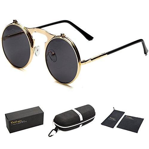 3412c58323 Dollger Lennon Flip on Detachable Round Sunglasses(Black Lens+Gold Frame)