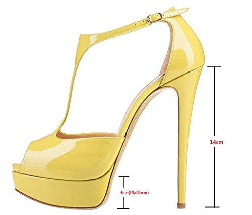 EDEFS Damen Peep Toe T-Spangen Sandalen Stiletto Plateau Knöchelriemchen Schuhe mit T-Strap Gelb