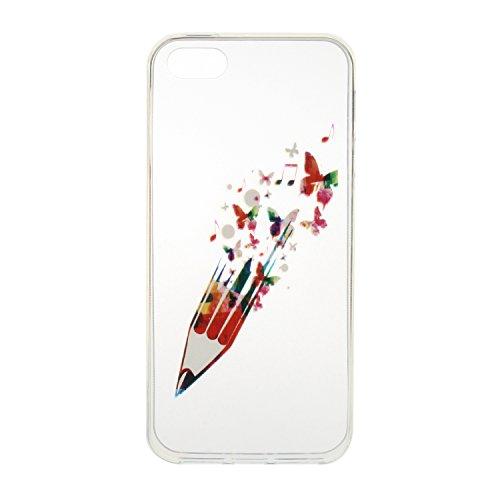 Custodia per iPhone 7, custodia trasparente per iPhone 7, custodia protettiva, ultra sottile, trasparente, in silicone, flessibile per iPhone 7, custodia TOYYM con copertura posteriore, protettiva, in Pen and Butterfly