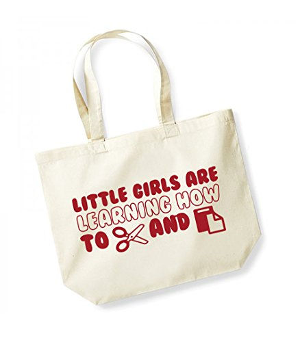 Little Girls Are Learning How to Cut and Paste -Large Canvas Fun Slogan Tote Bag Natural/Red