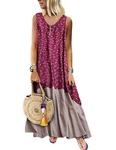 HAHAEMMA Damen Kleider Maxikleid Lose Kleid Langarm Retro Leinen Baumwolle Lange Kleider Elegante Bluse Breite LBiläufige Sommerkleider Damen Plus Größe(86-RE,5XL) Damen Plus Größe Kleider