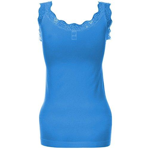 Damen Tanktop Push-Up Top Shirt mit Spitze außen Samtstoff innen Oberteil 20651 Blau