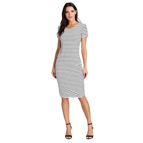 WWricotta Women Striped Printing T-Shirt Short Sleevel Paty Dress Bandage Dress BK/XL(Schwarz,XL)