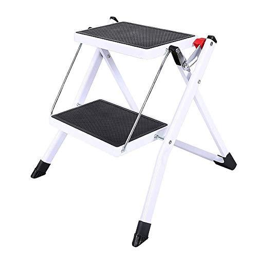 XHCfold 2-Step Hocker - Tragbarer klappbarer Tritthocker mit rutschfesten Rippenstufen - Einfach zu lagern Faltbares Design - Ideal for Zuhause/Küche/Garage Lange andauernd -