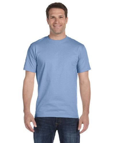 Hanes Mens Double-Needle Stitched Sleeves Cotton Tee Light Blue