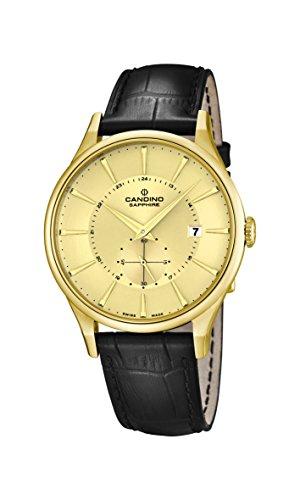 Candino Herren Armbanduhr Quarz mit Gold Zifferblatt Analog-Anzeige und schwarz Lederband C4559/2