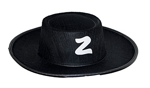 Faschingsfete Zorro Kostüm Hut Kopfbedeckung Zorrokostüm Kinder 3-9 Jahre, Schwarz