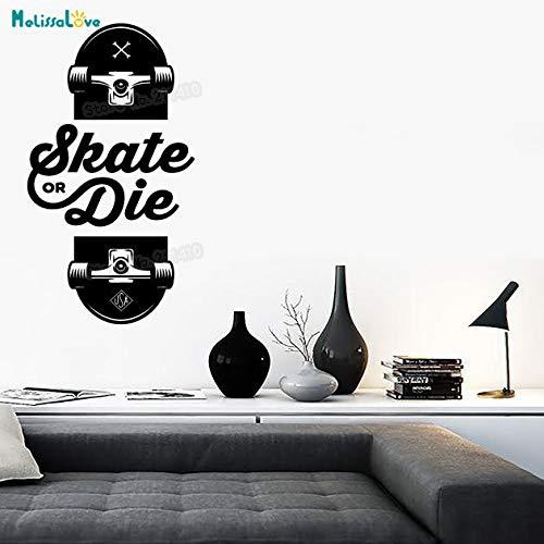 zhuziji Neue Sport Design Vinyl Aufkleber Slogan Von Skateboarder Skate Oder Sterben Sport Decor Einzigartiges Geschenk Selbstklebende Kunstwand weiß 56x108 cm -