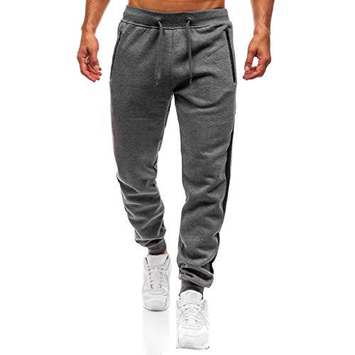 Herren Hosen Stripe Spleißen Pants Jogginghose Sport Fitness Hose Freitzeithose Trainingshose Slim Fit Sweatpants(T_Dunkelgrau,L)