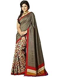 Glory Sarees Women's Bhagalpuri Art Silk Saree(kalapi27A_grey)