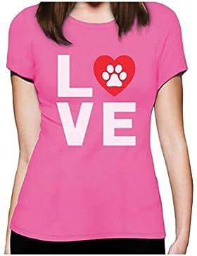 Animales Huellas de perro–Love Perros My Best Friend camiseta para mujer