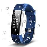 Antimi Fitness Armband, Wasserdicht IP67 Fitness Tracker, Pulsuhren, Schrittzähler, Kamerasteuerung, Vibrationsalarm Anruf SMS Whatsapp Beachten kompatibel mit iPhone Android Handy (Blau)