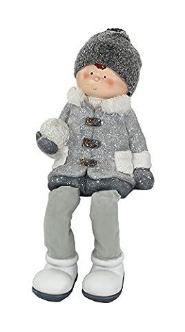 Deko Figur Winter-Kind Kantenhocker XL Junge grau/weiß