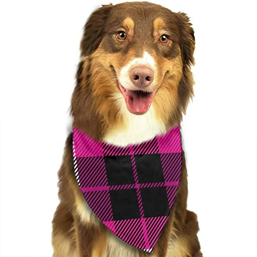 Osmykqe Hundeschal Tartan Plaid Scottish Pattern Crimson White Pet Bandanas Triangle Lätzchen Verstellbarer Kopftuch