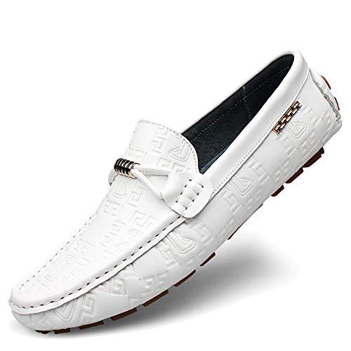 MYXUAA Mens Loafer atmungsaktive Mode klassischen Stil fahren Schuhe Papa Schuhe-White-EU42/US9.5/UK8.5 -