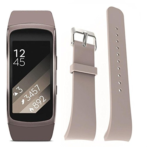 Watch Replacement Band Strap For Samsung Gear Fit 2 Pro Fitness, Hunpta Luxus Silikon Uhr Ersat Band Bügel (Grau) (Gear 2 Metal Band Watch)