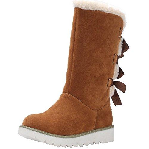 9c400c14655e TAOFFEN Damen Autumn-Winter Flache Halbschaft Stiefel Schneestiefel Snow  Boots Braun 5T1jR