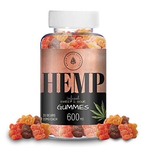 Gélatines de chanvre biologique - 600MG (20MG/Gomme gomme) aide à soulager la douleur, le stress et l'anxiété - Meilleur sommeil - Fait de chanvre biologique à spectre complet, sans OGM, Vegan.