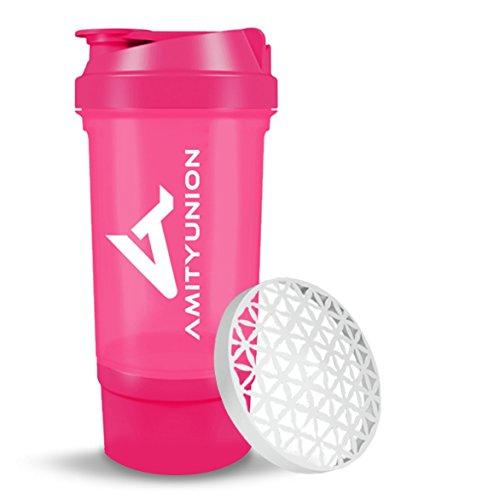 Eiweiß Shaker Trinkflasche 700ml - FYRA Lady Fitness Shaker - BPA frei & auslaufsicher mit Sieb, Skala für cremige Whey und BCCA Booster - Gym Fitness Becher für Isolate und Diät Konzentrate in Pink