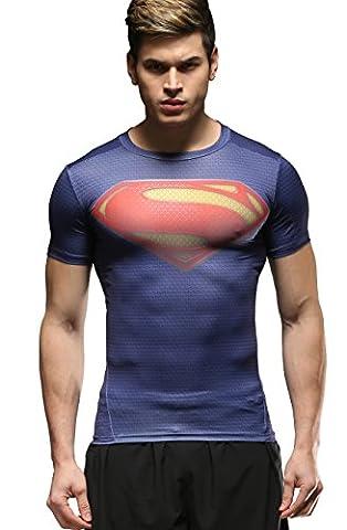 Cody Lundin Homme Compression T-Shirt Mouvement Collants Sport Fitness Vêtements Superhero Shirt (M, Superhero)