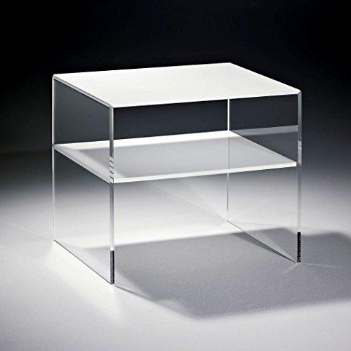 HOWE-Deko Hochwertiger Acryl-Glas Beistelltisch mit 1 Fach, Tischplatte und Unterboden sind Weiss, Seiten klar, 56 x 50 cm, H 48 cm, Acryl-Glas-Stärke 8 mm -