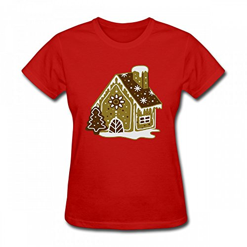 qingdaodeyangguo T Shirt For Women - Design A Gingerbread House Gingerbread and Frosting Shirt red