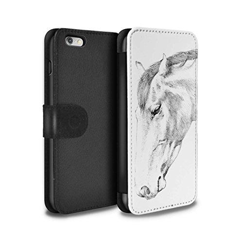 STUFF4 PU-Leder Hülle/Case/Tasche/Cover für Apple iPhone 6 / Pferd Muster / Skizze Zeichnung Kollektion Pferd