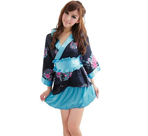 -Unterwäsche,V-Ausschnitt Bubble Rock Pyjamas,Cosplay Hülsen-Kimono-Klage(Schwarz,0014) (Spaß Frauen Pyjamas)