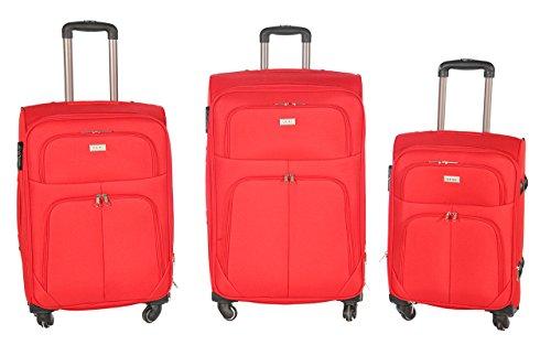 Trolley valigia set valigie semirigide set bagagli in tessuto super leggeri 4 ruote piroettanti trolley piccolo adatto per cabina con compagnie lowcost art so1 / rosso