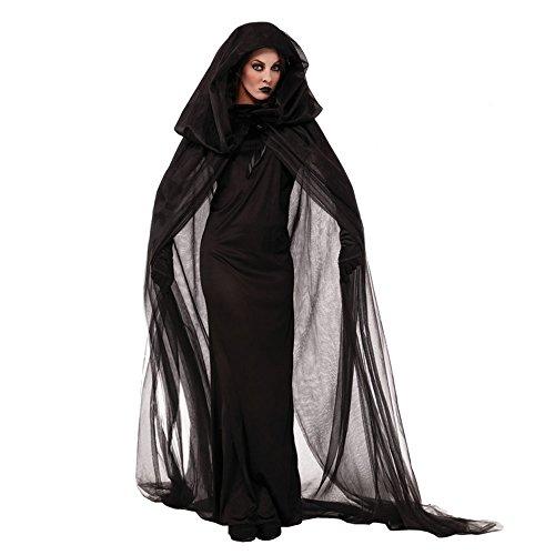 Donne halloween nero ghost sposa vestito strega/vampiro/ demone uniforme guanti scialle costumi fancy costume cosplay set decorazione m