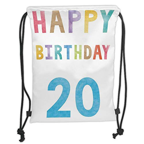 Metallic Abstract Print (Fashion Printed Drawstring Backpacks Bags,20th Birthday Decorations,Sweet 20 Party Themed Abstract Vintage Wear Lettering Art Print,Multicolor Soft Satin,5 Liter Capacity,Adjustable String Closure)